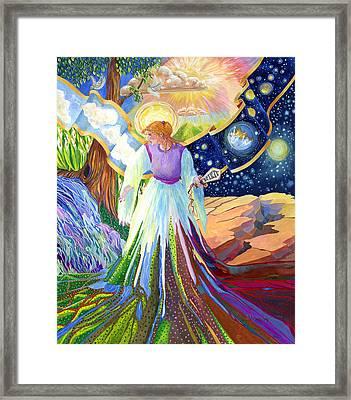 Spirit Of God Angel Between Good And Evil Framed Print by Jacquelin Vanderwood