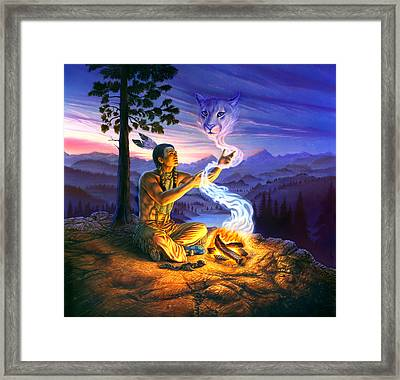 Spirit Of The Cougar Framed Print by Andrew Farley