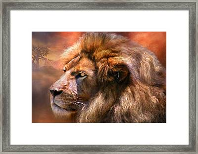 Spirit Of The Lion Framed Print by Carol Cavalaris