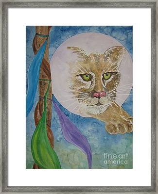 Framed Print featuring the painting Spirit Of The Mountain Lion by Ellen Levinson