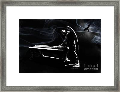 Spiritual Ethereal Angel Art - Surreal Cemetery Angel With Coffin And Raven - In Heaven's Presence  Framed Print by Kathy Fornal