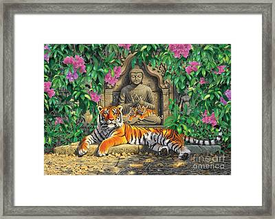 Spiritual Hideaway - Tigers Variant 2 Framed Print by Chris Heitt