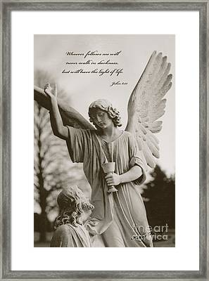 Spiritual Religious Angel Art With Jesus  Framed Print by Kathy Fornal