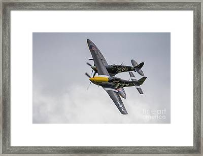 Spitfire And Mustang Framed Print by J Biggadike