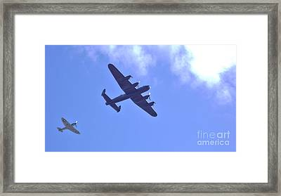 Framed Print featuring the photograph Spitfire  Lancaster Bomber by John Williams