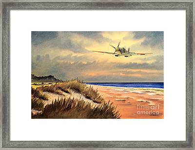 Spitfire Mk9 - Over South Coast England Framed Print by Bill Holkham