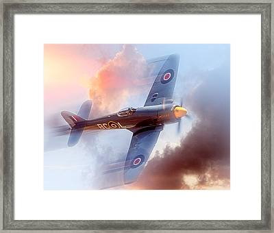 Framed Print featuring the photograph Hawker Sea Fury by Steve Benefiel