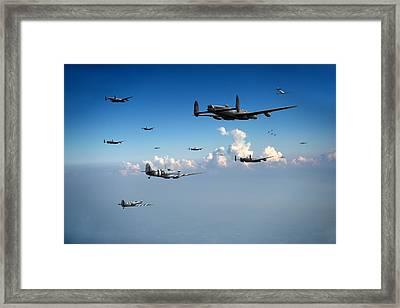 Spitfires Escorting Lancasters Framed Print