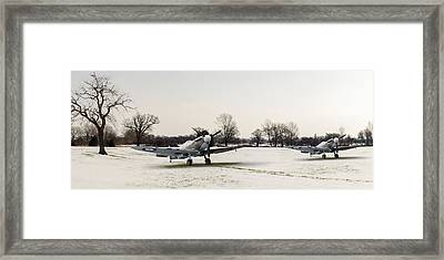 Spitfires In The Snow Framed Print by Gary Eason