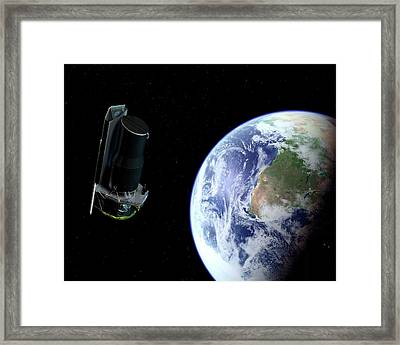 Spitzer Space Telescope After Launch Framed Print by Nasa/jpl-caltech/r. Hurt (ssc)