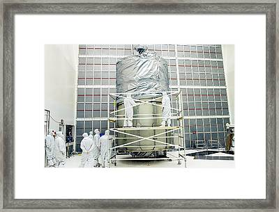 Spitzer Space Telescope Preparation Framed Print by Nasa