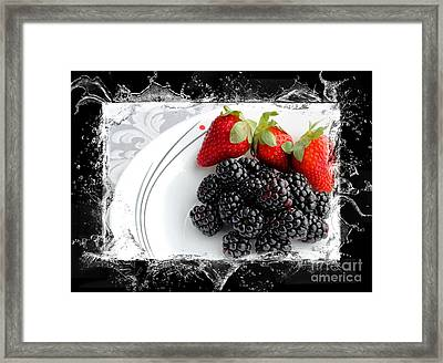 Splash - Fruit - Strawberries And Blackberries Framed Print by Barbara Griffin