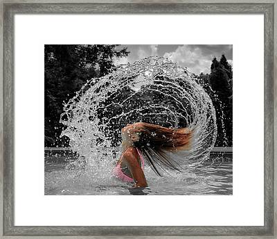 Hair Flip Splash Framed Print