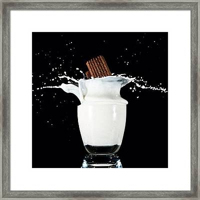 #splash #milk #biscuit #glass #flash Framed Print