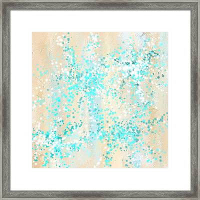 Splashes Of Teal- Teal And Cream Wall Art Framed Print by Lourry Legarde