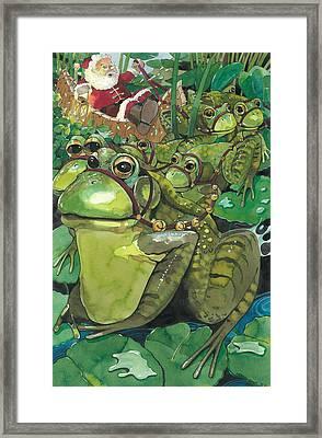 Splashing Through The Pond Framed Print by Denny Bond