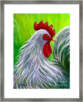 Splashy Rooster Framed Print