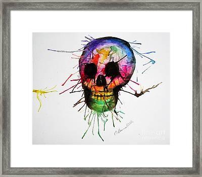 Splatter Skull Framed Print