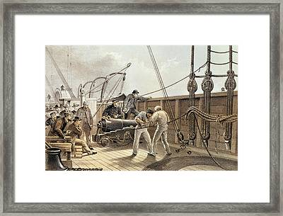 Splicing The Trans-atlantic Telegraph Cable After The First Accident On Board The Great Eastern Framed Print