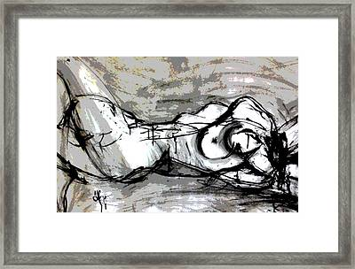 Framed Print featuring the drawing Split by Helen Syron