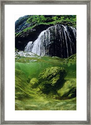 Split-picture From A Waterfall Framed Print by Thomas Aichinger