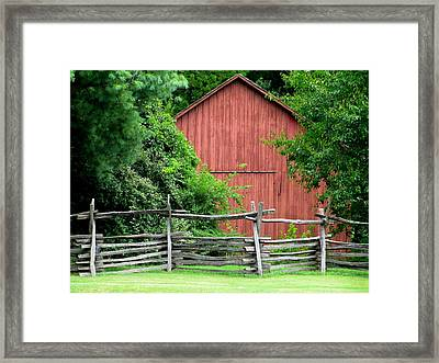 Split Rail Fence And Barn In Old Salem Framed Print
