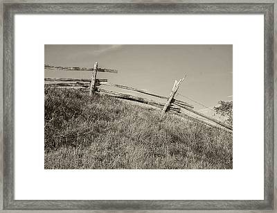 Split Rail Fence Sepia Framed Print