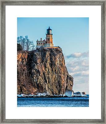Split Rock Lighthouse In Winter Framed Print