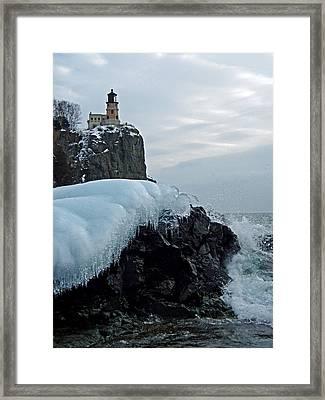 Split Rock Lighthouse Winter Framed Print by James Peterson