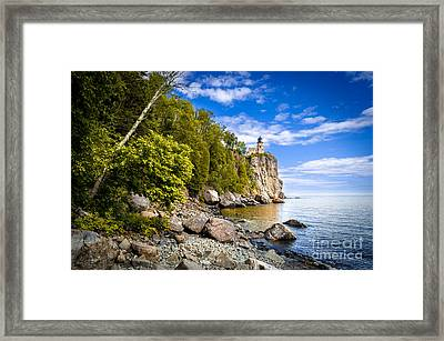Framed Print featuring the photograph Split Rock Shoreline by Mark David Zahn Photography