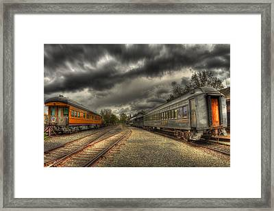 Split Trains Framed Print by Tracy Thomas