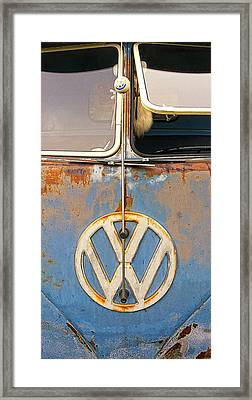 Split Window Bus With Texture Framed Print by Ron Regalado