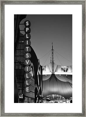 splitsville neon BW Framed Print by Laura Fasulo
