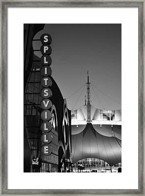 splitsville neon BW Framed Print