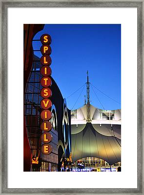 Splitsville Neon Framed Print by Laura Fasulo