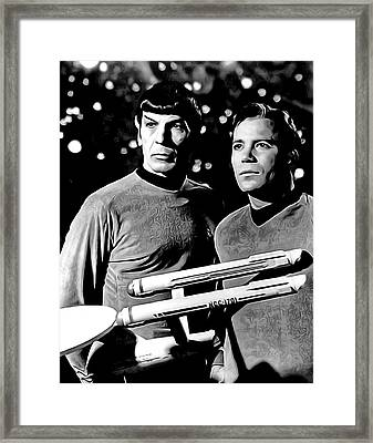 Spock And Captain Kirk Framed Print by Daniel Hagerman