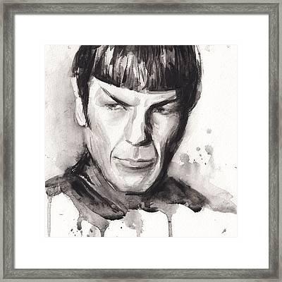 Spock Portrait Watercolor Star Trek Fan Art Framed Print by Olga Shvartsur