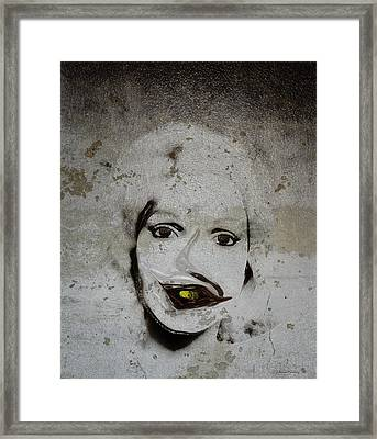 Spoiled Portrait In The Wall Framed Print by Ramon Martinez