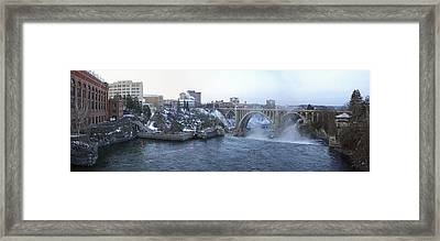 Spokane City Skyline On A Frigid Morning Framed Print by Daniel Hagerman