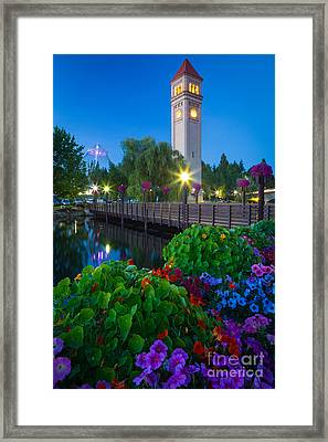 Spokane Clocktower By Night Framed Print by Inge Johnsson