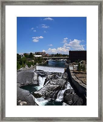 Spokane Falls And Riverfront Framed Print