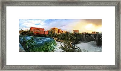 Spokane Falls City Skyline Framed Print by Dan Quam