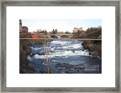 Spokane Falls In Winter Framed Print by Carol Groenen