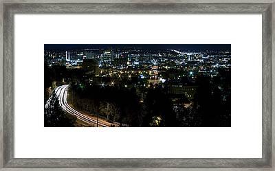 Spokane Washington Skyline At Night Framed Print by Daniel Hagerman