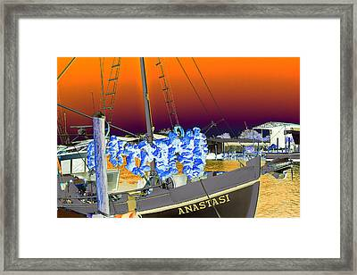 Sponge Boat Sabattier Framed Print