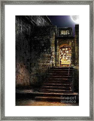 Spooky Backlit Door Way In Moon Light Framed Print by Oleksiy Maksymenko