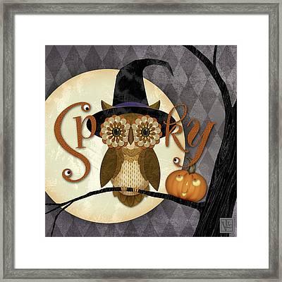 Spooky Owl Framed Print by Valerie Drake Lesiak
