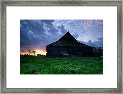 Spooky Shadow Barn Framed Print by Eti Reid