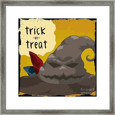 Spooky Smile Wizard Hat Poster, Vector Framed Print