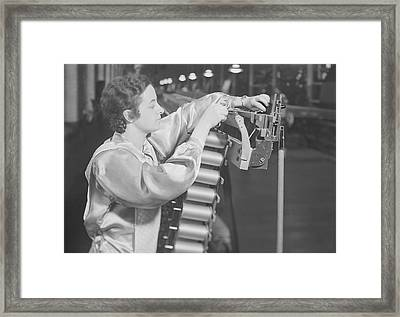 Spool Creel And Warper At The William Framed Print by Stocktrek Images